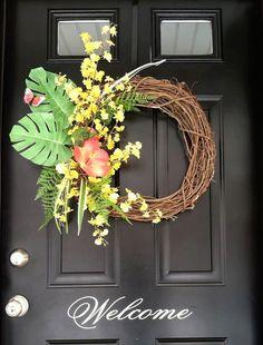 Summer Wreath Tropical Wreath  Orchid Wreath Island by jennyCmoon, $50.00