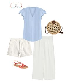 red, white and blue summer outfit Casual Summer Outfits, Outfits For Teens, Spring Outfits, September Outfits, High Waist Jeggings, Bright Shoes, Summer Fashion Trends, Fashion Spring, Fashion Ideas