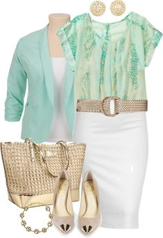 """""""Spring Office Wear - Plus Size"""" by alexawebb on Polyvore ~~this shirt is only $14 from Wal-Mart!! Cute combination. Maybe dye a plain white cardigan/jacket to match?"""