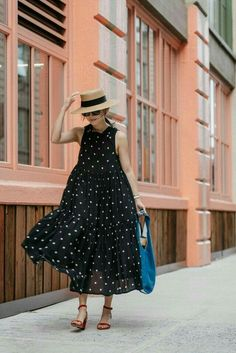 Overdue Gatherings (Egg Canvas) I absolutely adore this polka dot flowing maxi dress. Equal love the fashion style of wearing this summer style with a boater the perfect summer hat. Look Fashion, Street Fashion, Fashion Tips, Fashion Trends, Fashion Black, Trendy Fashion, Fashion Ideas, Older Women Fashion, Classy Fashion