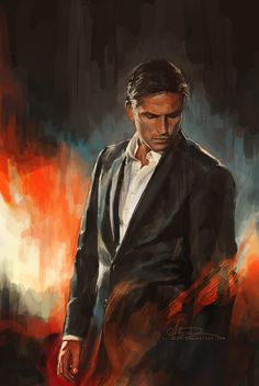 He Who Fights Monsters by alicexz.deviantart.com on @deviantART Painting exercise. John Reese from Person of Interest.