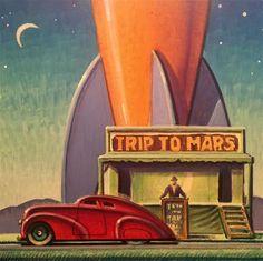 An Original Fine Art Gallery by Daily Paintworks Retro Poster, Vintage Posters, Vintage Art, Vintage Travel, Retro Kunst, Retro Art, Art Deco Paintings, Nostalgic Art, Art Deco Posters