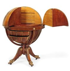 An Austrian parcel-gilt mahogony and satinwood metamorphic globe secretaire. 19th century, after the design by Morgan and Sanders: