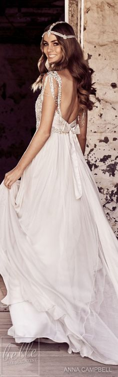 "With bold and intoxicating wedding dresses that are ""Everything"", Anna Campbell 2018 Eternal Heart Collection is a bridal-fashion moment not to be missed. Gorgeous Wedding Dress, Boho Wedding Dress, Designer Wedding Dresses, Beautiful Gowns, Colored Wedding Dresses, Bridal Dresses, Anna Campbell, Vintage Princess, Glamorous Dresses"