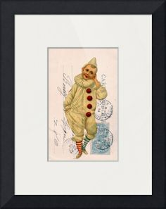 """""""Vintage Clown Postcard Collage"""" by Cassie Peters, Washington, Iowa // All rights reserved © Angelandspot // Imagekind.com -- Buy stunning fine art prints, framed prints and canvas prints directly from independent working artists and photographers."""