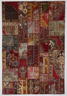 Tribal Multicolor Rug Patchwork Vintage Turkish by bazaarbayar