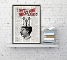 Spring Sale victorian man keys house wall art -Quote print - collage print - Upcycled art collage book print BPTQ040