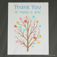 FREE Printable Fingerprint Tree Teacher Gift - * THE COUNTRY CHIC COTTAGE