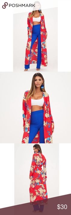 d60468d4a513 Red Floral Tie Duster Kimono Red Floral Tie Front Maxi Duster Kimono. In  excellent like
