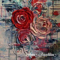 Картина с розами готова! Выполнена в технике скульптурной живописи!! Размер 50*40см!....