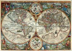 World Map 16th Century Orbis Terrarum published by the Dutch astronomer, cartographer and clergyman Petrus Plancius in 1594.