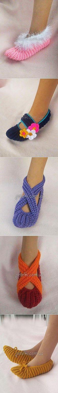 chinelos belas crochê.  / Agulhas Knit / tricô para as mulheres.  esquemas