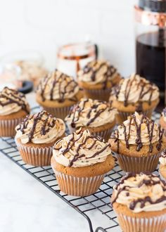 These Jamoca Almond Fudge Cupcakes are an ode to the classic Baskin-Robbins ice cream flavor. The rich mocha almond cupcakes are topped with coffee buttercream, roasted almonds, and chocolate ganache drizzle.