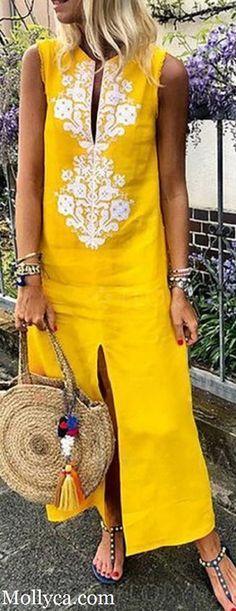 Buy 2 Got OFF Code: mollyca Cotton Floral Sleeveless Maxi Shift Dress Plus Size Maxi Dresses, Casual Dresses, Casual Outfits, Fashion Dresses, Summer Dresses, African Wear, African Dress, African Fashion, Mode Blog