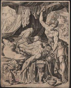 Maarten van Heemskerck (1498-1574)- Judith onthoofd Holofernes - Gegraveerd door Dirk Volkertsz Coornhert (1522-1590) - 1551  Afmetingen: 2450 x 1950 cm.Conditie: Goede druk met plaatrand en fijne marges rondom rond. Wat doorslaande verzamelaarsstempel en restjes van vroegere doublering op de achterzijde enkele bruine spotjes. Handgeschept papier met watermerk: Gotische P.Gegarandeerd originele druk uit het midden van de 16e eeuw (!) met nog wat zichtbare verticale krasjes van het oppoetsen…