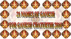 Ganesh Chaturthi 2016 - 21 Names of Lord Ganesha
