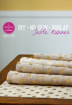 12 Crafty Table Runners: No Sew Burlap Table Runner