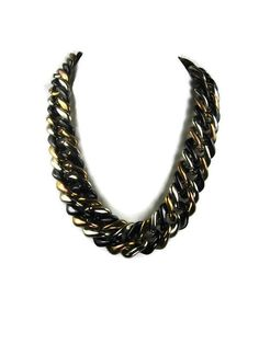 Chunky Tricolor Necklace in Black Silver by VintageSparkleyBits