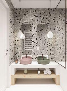 Design Bathroom 150448443789357125 – Papier peint terrazzo pour un style design… – badezimmer Bathroom Styling, Bathroom Interior, Bathroom Decor, Tile Bathroom, Modern Bathroom Decor, Bathroom Furniture, Bathroom Interior Design, Green Bathroom, Bathroom Design