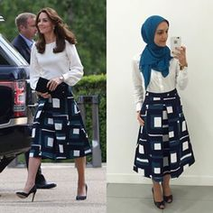| Let the record show that #KateMiddleton stole my look from way back in March  But it's okay cuz she's flawless & my style icon so we can be twinsies  || This @bananarepublic skirt may be sold out but the pant version is still in stock! || @liketoknow.it shop this geo print directly to your inbox  http://liketk.it/2obPG #liketkit #itsbanana #YourLifeStyles #ootd #midiskirt #currentlywearing