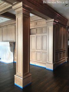 Pillar Design, Wood Design, House Outer Design, House Design, Architecture Details, Interior Architecture, Oak Panels, Hall Design, Grand Homes