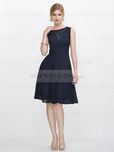 Bateau Neckline Chiffon Bridesmaid Dress in Knee Length