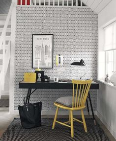 BorasTapeter - Borosan EasyUp 14 Wallpaper - 3 Colours Available - from Rockett St George Home Interior, Interior And Exterior, Interior Design, Scandinavian Pattern, Scandinavian Design, Guest Room Office, Office Decor, Office Workspace, Easy Up
