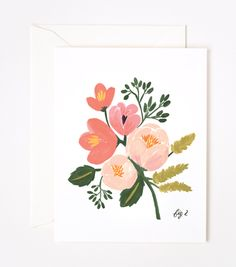 Send some pretty snail mail with this #RiflePaperCo Peony Pink Card.