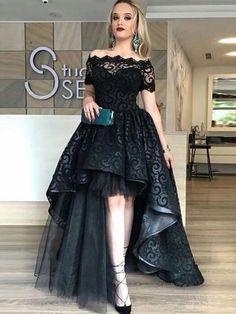 513266691f Short Sleeves Sweep Train Evening Dress