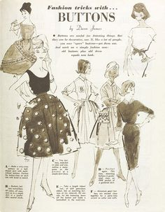 Vintage fashion tricks with buttons #craft #sewing #1960s