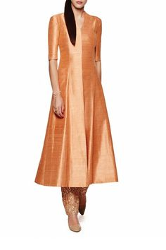 coral orange jacket kurta in raw silk with pajami by Anita Dongre Silk Kurti Designs, Blouse Designs, Indian Wedding Outfits, Indian Outfits, Western Dresses, Indian Dresses, Indian Attire, Indian Wear, Ethnic Fashion