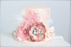 Vintage Peaches and Cream - Alice in Wonderland Inspired Mad Hatter Tea Party -  Mini Top Hat Headband (or fascinator) - Perfect  Photo Prop on Etsy, $26.00