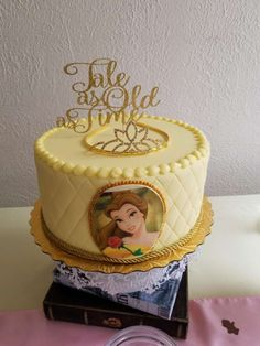 Beyond Perfect Princess Birthday Party Ideas Belle Birthday Cake, Cookie Cake Birthday, Disney Princess Birthday, Beauty And Beast Birthday, Beauty And The Beast Party, Son Tattoos, Mouse Tattoos, Family Tattoos, Print Tattoos