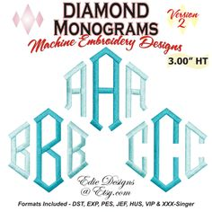 "Diamond Monograms 3 Inch Height  When you combine three letters the height will be 3.00"". Another idea is that you can make a TWO letter Diamond monogram, with using the left and right position letters, only. However, you can use just the center letters too - for a more unique monogram. You may also want to add your accenting rhinestones too! Available at http://www.etsy.com/shop/EdiesDesigns"