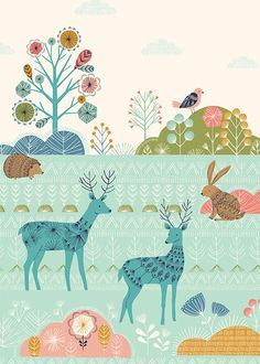 Patterned Forest by Bethan Janine dear bunny hedgehog