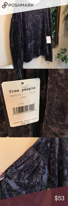 NWT FREE PEOPLE Velour with the look of crushed velvet in a gorgeous dark grey color.  Great wide sleeve detailing.     Hugs slightly at waist to give a slender look.  Perfect!   Last photo shows top in different color..... Free People Tops