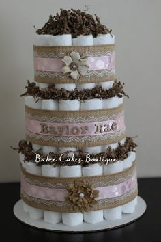 3 Tier Tier Shabby Chic Diaper Cake Burlap by BabeeCakesBoutique