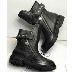 Women Black Cowhide Leather Flat Dr. Martens Punk Biker Fashion Boots SKU-11405679