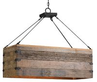 Rustic Wood Rectangular Box Chandelier - Detailed item view - Chandeliers, Mirrors, Lighting and Furniture