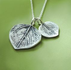 Mother and Child Aspen Leaf Necklace  Sterling Silver by esdesigns