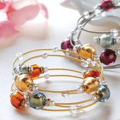 Oooh.   Bead and wire bracelet