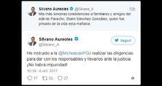 A través de sus redes sociales, el gobernador de Michoacán envió condolencias a familiares y amigos de Stalin Sánchez; informó que dio instrucciones a la PGJE para realizar las diligencias ...