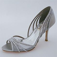 Discover Badgley Mischka Glynn  Evening Shoes & Wedding Shoes in Silver. Daring, sexy silver heels and crystal sandals.  Find your glamour with Badgley Mischka shoes at Perfect Details.