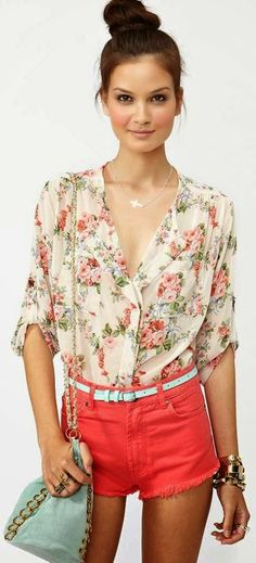 Adorable rose blossom blouse and short combo