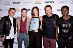 Camilla Belle (L-R) Actors Kenny Wormland, Skylar Astin, Camilla Belle, Chad Michael Murray and Dayo Okeniyi arrive at the premiere of 'Cave...