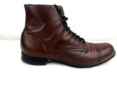 Stacy Adams Madison Mens Cognac Brown Leather Cap Toe Lace Ankle Boots Size 12 D