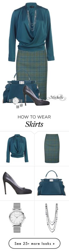 """""""Tweed in Teal"""" by michellesherrill on Polyvore featuring DUBARRY, Fendi, Sergio Rossi and Kate Spade"""