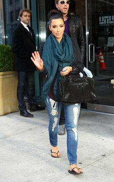 Kim Kardashian rocking a teal scarf. #style #celebrity