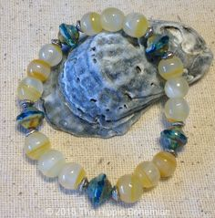 Yellow and Blue Bracelet, Beaded, Handmade, Bohemian, Jewelry - pinned by pin4etsy.com