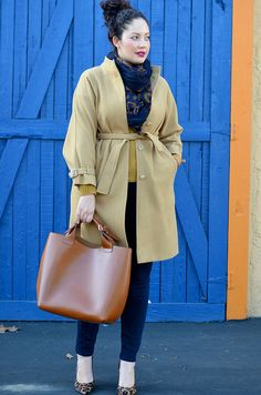 Hints of Camel by Girls With Curves - love this outfit!  especially the skinny pants with the leopard pumps! Plus Size Winter, Full Figure Fashion, Curvy Girl Fashion, Plus Fashion, Love Fashion, Womens Fashion, Winter Fashion, Plus Size Outfits, Plus Size Dresses
